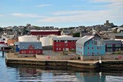 Hus av Lerwick, Shetland öar Arkivbild