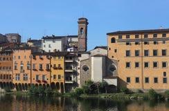 Hus av Lungarno, Florence, Tuscany, Italien Royaltyfria Bilder