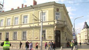 Hus av Moskva i mitten av Sofia, Bulgarien arkivfilmer