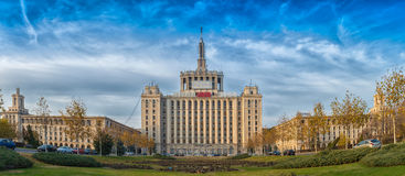 Hus av panoramen för fri press (casaen Presei Libere i romanian) Royaltyfria Bilder