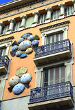 Hus av paraplyer, Barcelona Spanien Arkivfoto