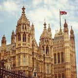 Hus av parlamentet i London Retro filtereffekt Arkivbilder