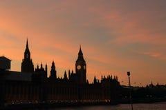 Hus av parlamentet, solnedgång Royaltyfri Foto