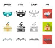 Hus av regeringen, stadion, kafé, kyrka Byggande fastställda samlingssymboler i tecknade filmen, svart, översikt, lägenhetstilvek royaltyfri illustrationer