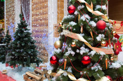 Hus av Santa Claus, julgranar och renen Royaltyfri Foto