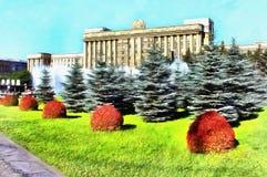 Hus av sovjet p? Moskvafyrkant av St Petersburg royaltyfri illustrationer