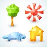 Hus-, bil-, träd- och solsymboler ställde in. Vektor Arkivbild