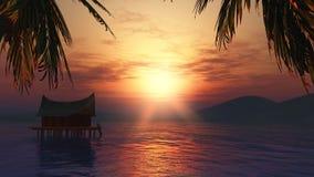 hus 3D i en sjö på solnedgången Royaltyfri Bild