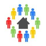 Hus-dela och delat hus vektor illustrationer