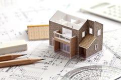 Hus design som drar fotografering för bildbyråer