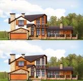 Hus Designen av fasaden för familjhus för bakgrund 3d isolerad white illustration Royaltyfria Foton