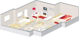hus för arkitekter för lägenhet 3d floorplan Fotografering för Bildbyråer