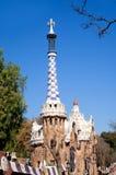 Hus för Barcelona ParkGuell pepparkaka av Gaudi Arkivfoto