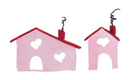 Hus för ` för dag för ` s för vattenfärgSt-valentin av förälskelse` stället var din förälskelse är royaltyfri foto