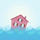 hus för flodöversvämningsutgångspunkt under vatten Royaltyfri Fotografi