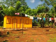 Hus för zinkarkmetall i djungel med tvätterit som torkar Quinn Hill Arkivfoto