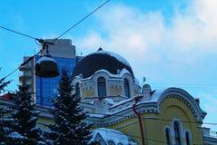 hus gammala moscow Arkivbilder