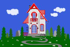 Hus i äng stock illustrationer