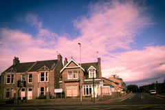 Hus i Aberdeen, en stad i Skottland, Storbritannien Royaltyfri Bild