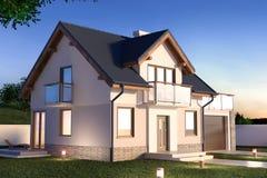 Hus i aftonen, illustration 3D stock illustrationer