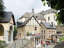 Hus i den Beilstein byn, Moselle flodregion Arkivbilder