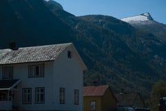 Hus i den Fjærland fjorden royaltyfri fotografi