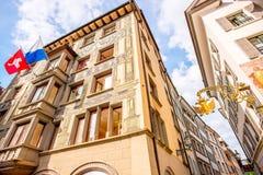 Hus i den Lucerne staden Royaltyfria Bilder