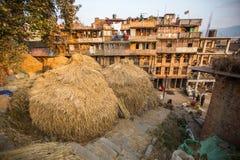 Hus i det centrala området av Bhaktapur Royaltyfri Foto