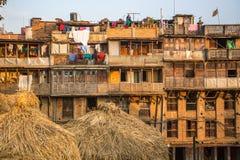 Hus i det centrala området av Bhaktapur Mer 100 kulturella grupper har skapat en bild av Bhaktapur som huvudstad av Nepal konster Royaltyfri Foto