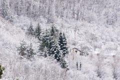 Hus i det härliga vinterberget Arkivbild