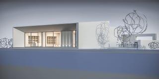 Hus i en minimalist stil visningslokal framförande 3d Fotografering för Bildbyråer