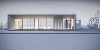 Hus i en minimalist stil visningslokal framförande 3d Royaltyfri Fotografi