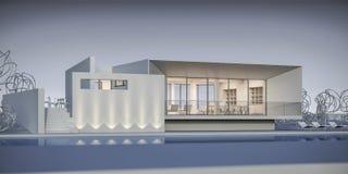 Hus i en minimalist stil visningslokal framförande 3d Arkivfoto