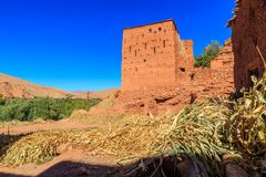 Hus i en typisk moroccan berberby Royaltyfri Fotografi