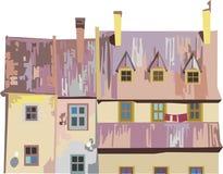 Hus i färgpastell Fotografering för Bildbyråer