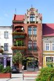 Hus i fyrkanten i Golub-Dobrzyn Fotografering för Bildbyråer