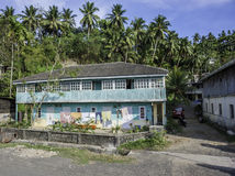 Hus i gömma i handflatanskogen Arkivbild