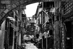 Hus i gammal stad i Guangzhou, Kina arkivbilder