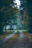 Hus i höstskog med körbanan på skymning Royaltyfria Bilder