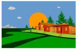 Hus i kullarna på en vit bakgrund Royaltyfri Bild