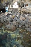 Hus i kusten i Poris de la Candelaria La Palma spain Royaltyfria Bilder