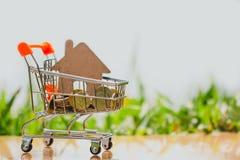 Hus i mini- shoppa vagn med bunten av myntpengar för bostads- investering royaltyfri foto
