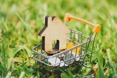 Hus i mini- shoppa vagn med bunten av myntpengar för bostads- investering royaltyfria bilder