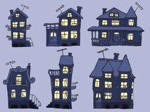 Hus i natten (blåttfärger) Arkivbilder