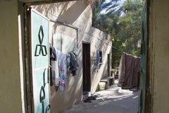 Hus i oasen Al Hamra Oman Arkivbilder