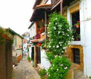 Hus i Puerto Viejo, Bilbao, Spanien Arkivfoton
