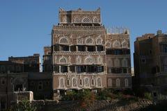 Hus i Sanaa, Yemen, Mellanösten Royaltyfri Foto