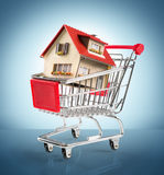 Hus i shopping-vagn Royaltyfri Fotografi