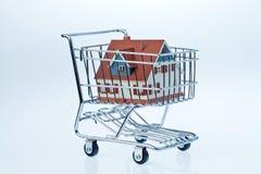 Hus i shoppingvagn Royaltyfri Bild