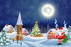 Hus i snöig jullandskap på natten Fotografering för Bildbyråer